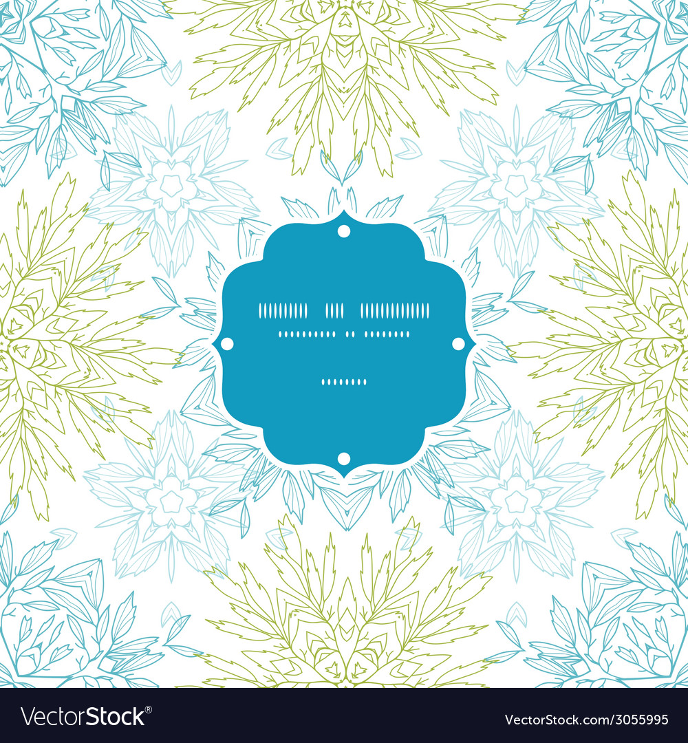 Abstract plants mandalas frame seamless pattern vector