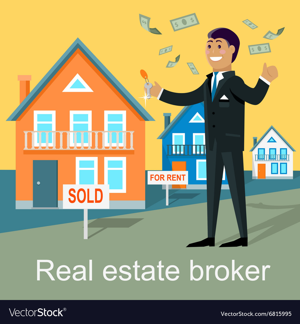 Real estate broker design flat vector