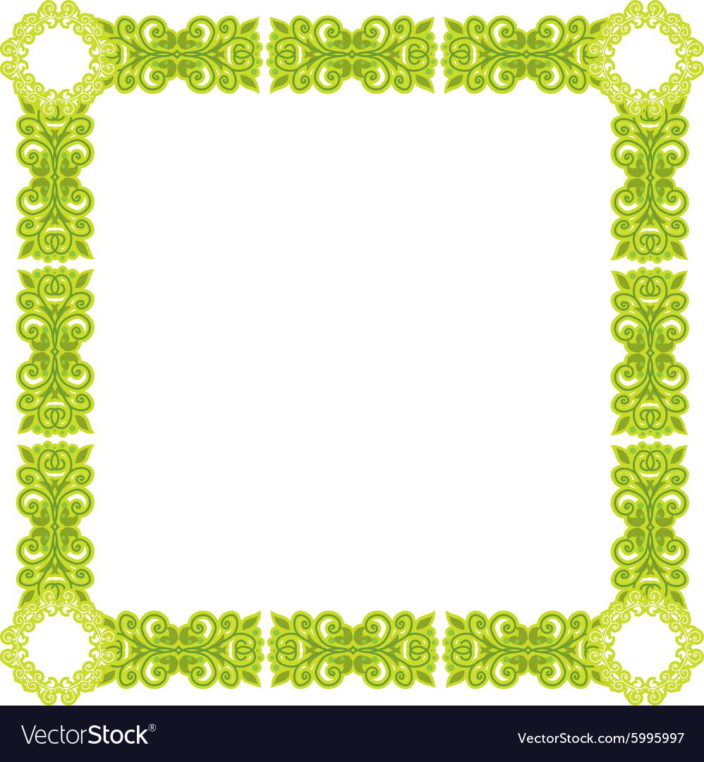 Green pattern frame vector