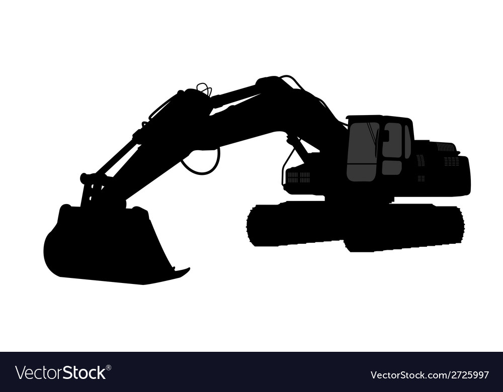Silhouette the excavate vector