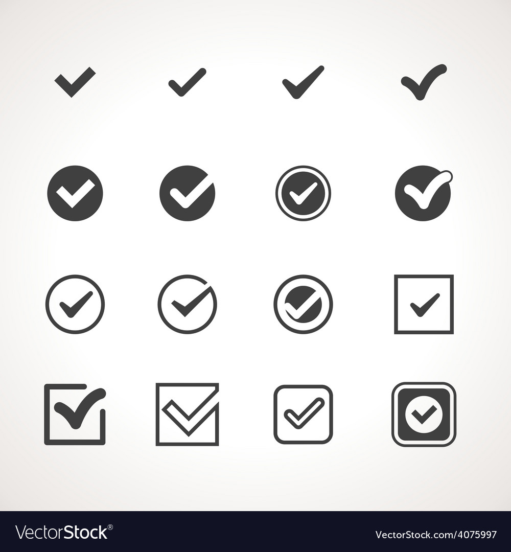 Tick check mark icon set vector