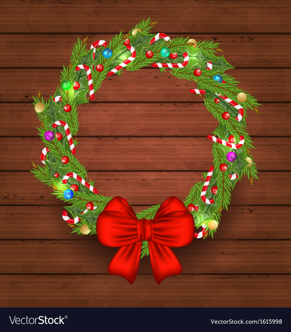 Christmas holiday decoration wreath garland vector