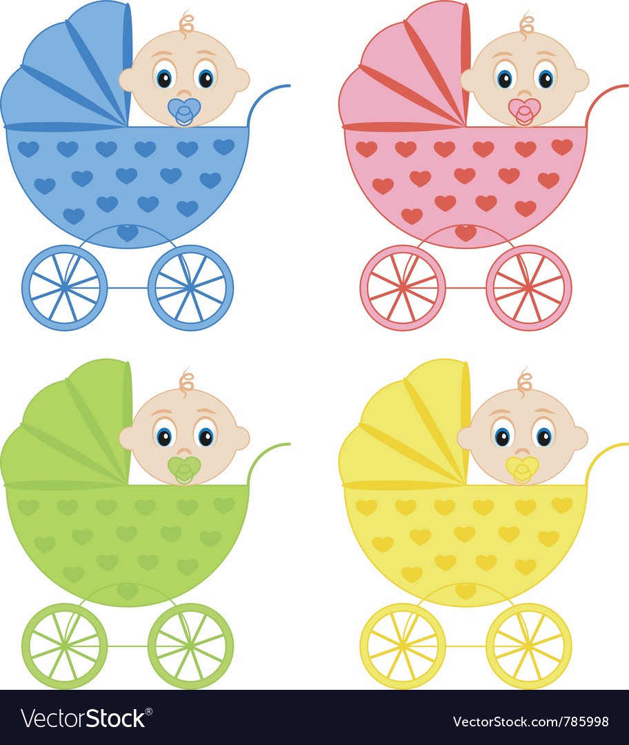 Collection of baby carriages vector