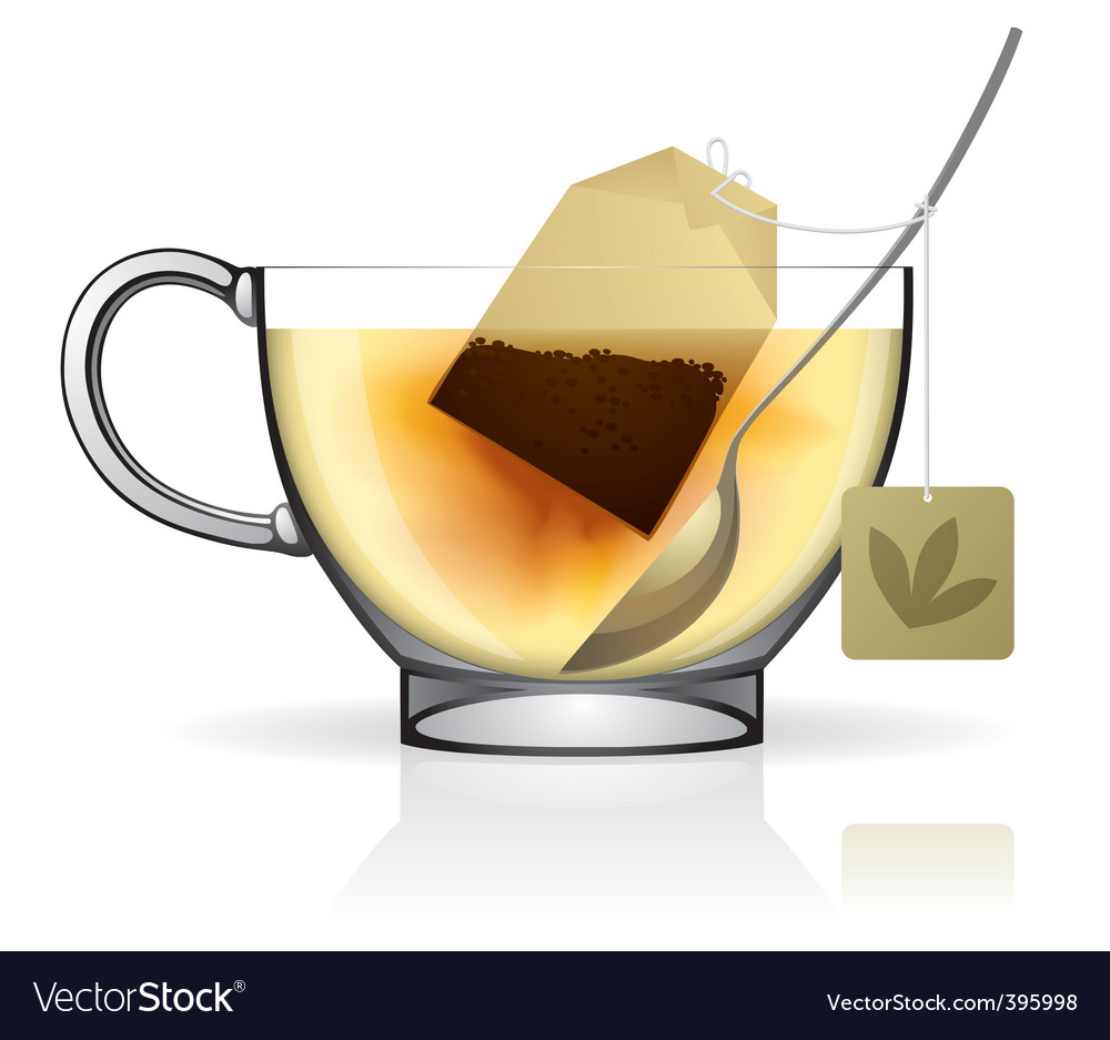 Tea bag in the cup vector