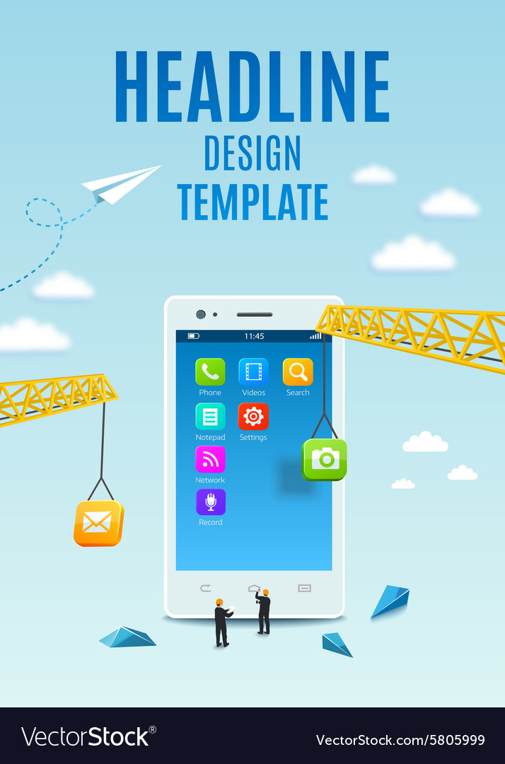 Construction smartphone software mobile app vector