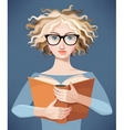 Girl with glasses reading a book vector image