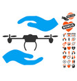 airdrone care hands icon with love bonus vector image