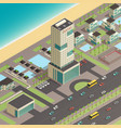 isometric city constructor with luxury hotel vector image