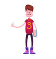 Pupil in a t-shirt with the letter s standing with vector image