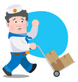a man with boxes cartoon funny character vector image