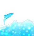 Abstract water card with dolphin vector image