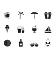 Silhouette Holiday and beach objects vector image