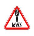 woman car driver sticker female in automobile vector image