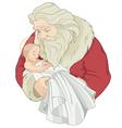 Santa and Baby Jesus vector image