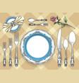 cutlery set sketch vector image