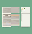 refrigerator opened fridge open and closed vector image