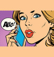 hello woman on the phone vector image