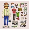 sketch male hipster set vector image