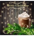 Christmas New Year design with hot chocolate grey vector image