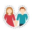 couple romantic love cute relation cut line vector image