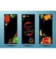 Frame of peppers on black background vector image