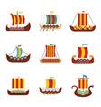 viking ship boat drakkar icons set flat style vector image