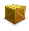 Yellow wooden crate realistic icon isolated on vector image
