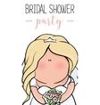 doodle character cute bride Romantic vector image