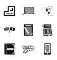 Translation of language icons set simple style vector image