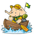little baby elephant floating by boat scout vector image