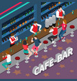 cafe bar isometric composition vector image