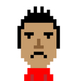 Red shirt man bored emoticon pixel art character vector image