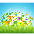 Spring arrow background with green grass vector image vector image