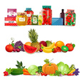 collection borders with preserve food vegetables vector image