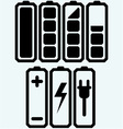 Battery charge level indicators vector image vector image