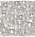 Doodle mushrooms seamless pattern vector image