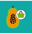 green basket fresh papaya design icon vector image