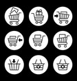 shopping cart icons in circles vector image