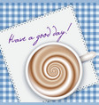 coffee cup top view blue gingham background vector image