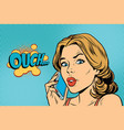 ouch woman speaks on the smartphone vector image