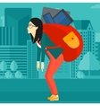 Woman with backpack full of devices vector image