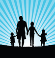 children with dad in nature vector image