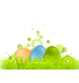 Easter egg background with green grass vector image