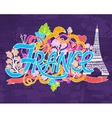 France art abstract hand lettering and doodles vector image