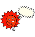 happy flashing red light bulb cartoon with speech vector image