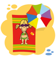 little cute girl is getting tan on the beach vector image