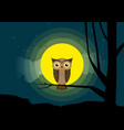 owl sitting on a tree branch background of the vector image