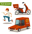 Pizza delivery set with car scooter and courier vector image