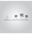 ship sailing near the island with palm trees vector image