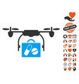 airdrone pharmacy delivery icon with valentine vector image